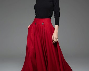 Red Maxi Skirt - Bright Colorful Winter Warm Wool Full Fit & Flare Woman's Skirt with Button Detail C759