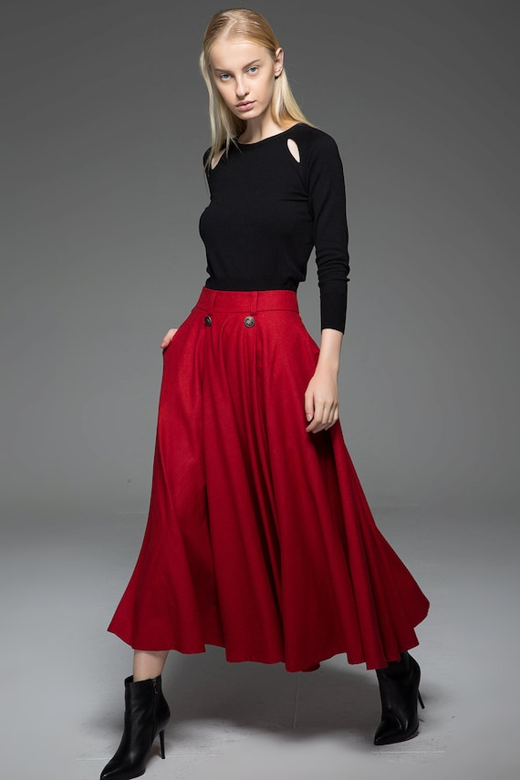 maxi skirt bright colorful winter warm wool fit