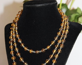 Vintage Magnificent POURED GLASS Bead Necklace NG