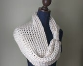 White Infinity Scarf .. Crochet Scarf .. Winter White Scarf .. Winter White  Cowl .. Made in USA .. Oversized Scarf .. DottieQ Scarf