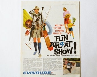 Evinrude Boat Ad -- Vintage Magazine Advertising - 1961