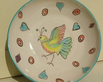 Pottery Bird Bowl Nature Inspired Pottery with Fantasy Birds - Wedding Gift Idea UK