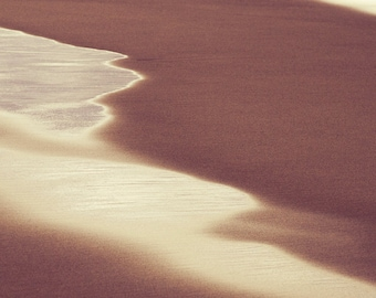 Abstract Photography, Beach Photo, Waves on Sand, Abstract Print, Square Fine Art Print, Beach Art, Fine Art Photography