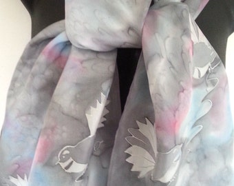 Silver Bird, New Zealand FANTAIL native Bird, Blush pink and blue on Silver Grey, Hand Painted Pure Silks Scarf, Great Gift 150cm x 28cm
