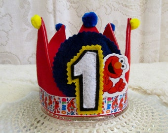 Elmo Tie Back Red Fabric 1st Birthday Crown, Boy or Girl, One Size Fits All, Birthday Photo Prop, Sesame Street Theme, Ready to Ship!