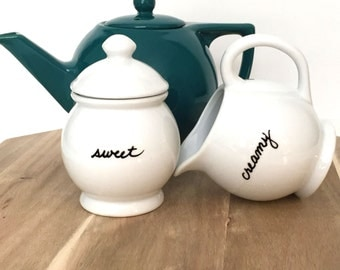 Upcycled Sugar Bowl and Creamer Set  Sweet and Creamy White Porcelain Customizable