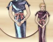 McCall 7644 Vintage 1930s Dress Pattern A Formal Frock for Evening Wear Cape Collar Flounce Skirt Bust 36 Rare Pattern