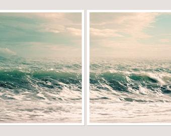 Extra large wall art prints, Set of 2 Sea art photography, Ocean prints, Surf art, Coastal wall art Set of art prints Waves 11x14, 30x40