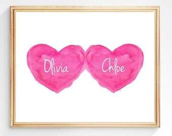Twin Girls Print, Twin Sisters Nursery Art, Hot Pink Twins Shower Gift, Gift for Twin Girls, Hot Pink Baby Girl Gift, 8x10 Print,