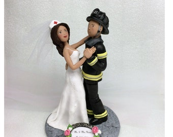 Custom Cake Toppers, Custom Fireman and Nurse Wedding Cake Topper * Bride and Groom from your Ideas and Photos