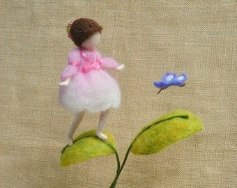 Girl Mobile Needle Felted/ Wall Hanging Waldorf inspired : Fairy and butterfly