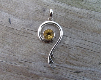 Saraswati Pendant - Citrine Sterling Silver Pendant