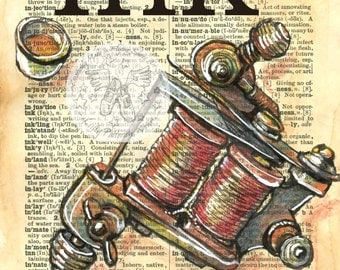 "PRINT:  Tattoo Gun ""Ink"" Mixed Media Drawing on Antique Dictionary Page"
