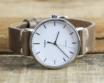 Timex + Leather Watch Strap Combo // Horween Leather Watch Band in Natural Chromexcel // 41mm Silver Timex Weekender Fairfield