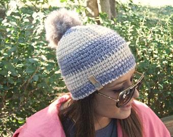 Beige Grey Unisex Hat- Men Beanie- PomPom Women winter Hat- Simple Hat- Crochet Hat- Chunky Crochet Hat- Knit Hat- Knit Christmas Gift