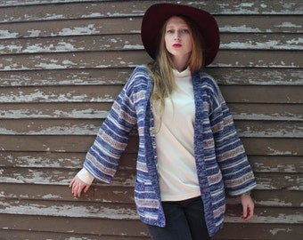 Vintage Sweater SPACE DYED Knit Wrap CARDIGAN Intarsia Retro 70s Hippie folk festival Top Woman medium belted Boho Bell long sleeved Sweater