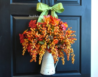 fall wreath fall wreaths autumn harvest fall berry wreath outdoor orange wreath front door decor handmade fall wreaths