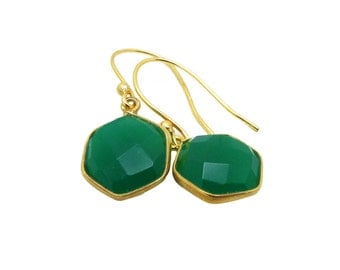 Green Onyx Earrings in Gold Vermeil, Green Onyx Earrings, Gemstone Dangle Earrings