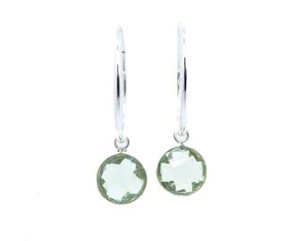 Green Amethyst Earrings, Prasiolite Earrings, Amethyst Earrings Silver, Gemstone Hoop Earrings, Sterling Silver Hoop Earrings