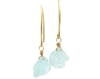 Aquamarine Earrings, Raw Aquamarine Earrings, Rough Gemstone Earrings, March Birthstone