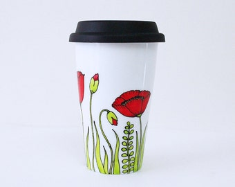 Travel Mug with Red Poppy Flowers, Green Grass field, Wild Flowers Mug, Thermal Double-wall Porcelain Hand painted Travel Mug Custom mug