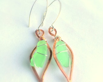 Sea Glass Leaf Dangle Earrings, Handcrafted Copper, Sterling Silver , Green Beach Glass