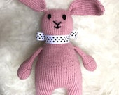 Handmade Knit Bunny with Bow