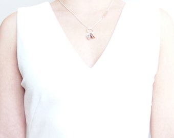 Silver necklace clover mother of pearl