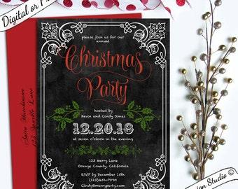 Vintage elegant Christmas invitation Office Holiday party