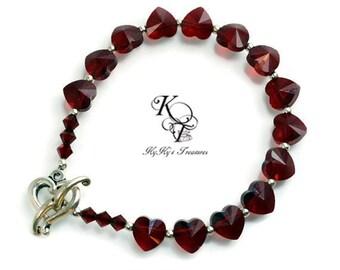 Valentines Gift, Heart Bracelet, Garnet Bracelet, Valentines Jewelry, Heart Jewelry, Anniversary Gifts, Wife Gifts, Love Jewelry, Heart Gift