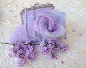 Felt purse, felt handbag, romantic gift, felt bag, felt accessories, valentines gift, gift for her, retro purse, retro handbag,romantic felt