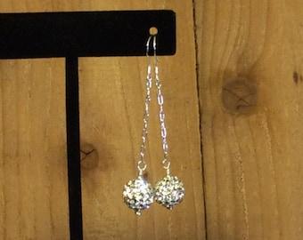 Rhinestone and Sterling Silver Earrings