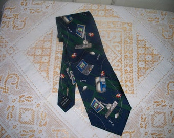 Vintage Utopia Men's Tie  - 100% Silk - Computer Office Work - Navy Blue Background