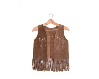 Brown Vest Boho Vest Bohemian Vest Leather Vest Fringe Vest Festival Vest Hippie Vest Gypsy Vest Bohemian Size X Small