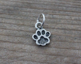 Add PAW OR Add charm 10mm Gold vermeil or Sterling silver 10mm disc hand stamped Designs