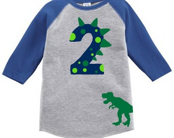 Custom Dinosaur Toddler Birthday Number Shirt with Name on Back Birthday Shirt Age First Birthday Second Birthday