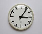"Vintage German Industrial wall clock from TN. 1970s. Gray Rim. 14"" diameter. Made in Germany. 1117"