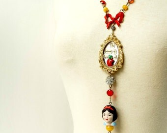 The fairest of them all / Snow White inspired vintage assemblage necklace / fairy tale jewelry / statement necklace / princess necklace