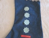 Up-Cycled Denim Blue Jeans Decorated Christmas Stocking - Re-purposed - Fully Lined - Large Size - Let It Snow
