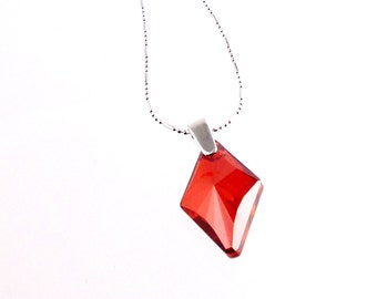 Topaz Crystal and Sterling Silver Charm Necklace, Crystal Necklace, Gifts