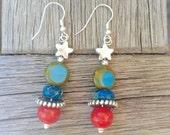 Red and teal earrings, Dangle earrings, Southwestern earrings, Jasper and Silver earrings, Drop earrings