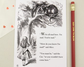 Alice in Wonderland Postcard - Lewis Carroll Quote, Cheshire Cat