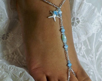 Starfish Beach Jewelry Blue Beach Wedding Barefoot Sandals Foot Jewelry Anklet Destination Wedding Bridal AccessorieS Bridesmaids Gift