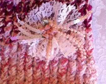 Hand knitted Winter Hat Shades Of Pink With Lace