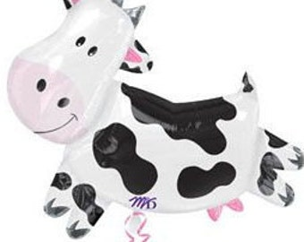 "COW BALL00N  Oversized 30"" Cow Shaped Balloon air/helium ready to fill DIY supply- Birthday Party Favor, Farm & Dairy, Rodeo"