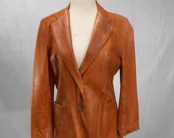 Vintage Sheeps Mate Leather Blazer Jacket Carmel Butterscotch Brown