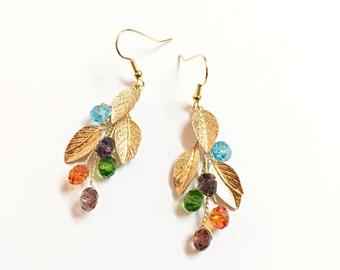 Gold Floral Earrings, dangle earrings, bridesmaid earrings, floral earrings gold, earrings dangle, bridesmaid gift, bridal earrings wedding