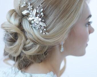 Gold Wedding Hair Clip, Floral Bridal Hair Clip, Pearl Hair Clip, Rhinestone Hair Clip, Gold Headpiece, Hair Comb, Bridal Clip ~TC-2276-G