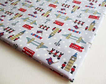 London fabric Themed, UK,  Union Jack, Fabric by the yard, London Bridge, Oxford Street, Big Ben, table cover, tourist place, Curtain, CT490