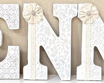 Custom Nursery Letters - Neutral Nursery Decor, Wall Letters, Baby Name- Girl Room Nursery Decor -Painted and decoupage- The Rugged Pearl